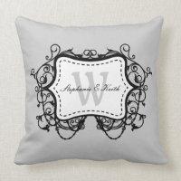 Black Grey Ornate Frame Monogram Throw Pillow