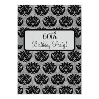 Black Grey Parisian Damask 60th Birthday Party 5x7 Paper Invitation Card