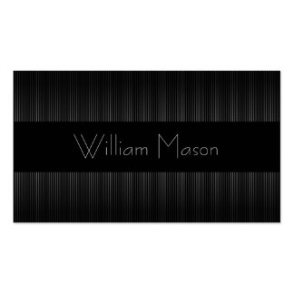 Black Grey Pinstripe Professional Business Card