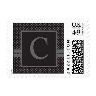 Black Grey Polka Dots, Your Monogram C Postage