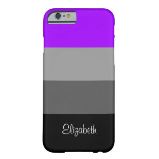 Black Grey Purple Stripes iPhone6 Case, Barely Barely There iPhone 6 Case