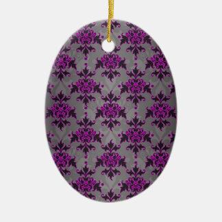 Black Grey Purple Victorian Damask Pattern Ceramic Ornament