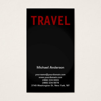 Black Grey Red Travel Agent Business Card