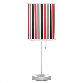 Black Grey Red & White Thick & Thin Stripes Desk Lamps