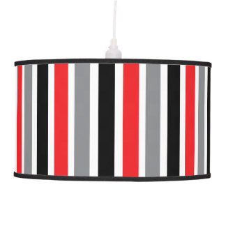 Black Grey Red & White Thick & Thin Stripes Hanging Pendant Lamp