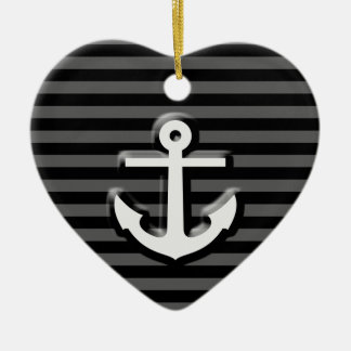 Black Grey Sailor Anchor Stripes Ceramic Ornament