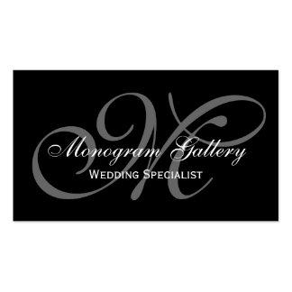 Black Grey Script Monogram Wedding Business Double-Sided Standard Business Cards (Pack Of 100)