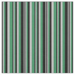 [ Thumbnail: Black, Grey & Sea Green Colored Lines Fabric ]