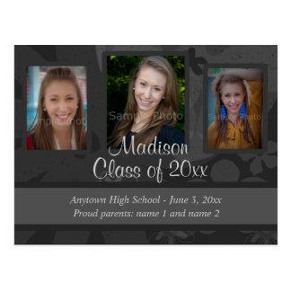 Black Grey Three Photo Graduation Save the Date Postcards