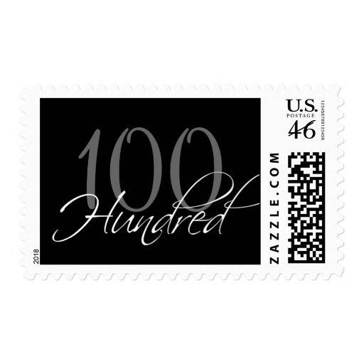 Black Grey White 100th Birthday Party Postage