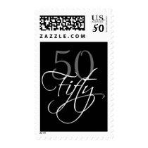 Black Grey White 50th Birthday Party Postage