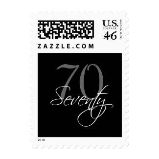 Black Grey White 70th Birthday Party Postage zazzle_stamp