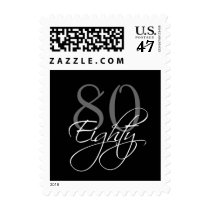 Black Grey White 80th Birthday Party Postage