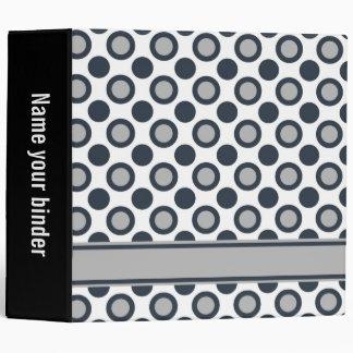 """Black grey White Polka Dots 3 Ring  2"""" Binder"""