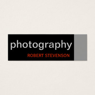 Black Grey White Skinny Photography Business Card