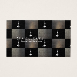 Black, Grey with a White Drilling Rig Silhouette Business Card