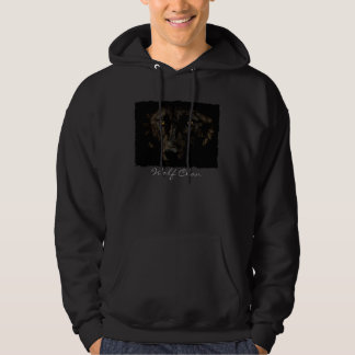 Black Grey Wolf Face - WOLF CLAN Wildlife Art Hooded Pullover