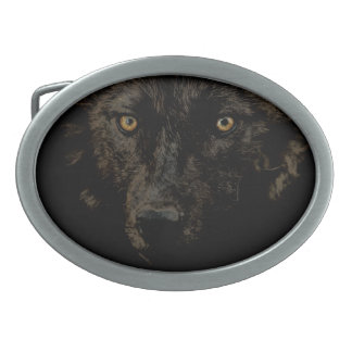 Black Grey Wolf Face - WOLF CLAN Wildlife Art Oval Belt Buckle