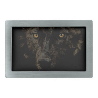 Black Grey Wolf Face - WOLF CLAN Wildlife Art Rectangular Belt Buckle