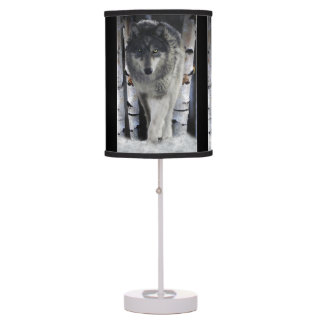 Black Grey Wolf Portrait Wildlife Art Table Lamp