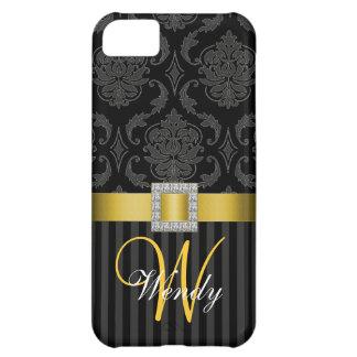 Black Grey Yellow Damask Stripes iPhone 5 Case
