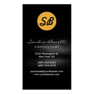 Black Grey Yellow Monogram Business Card