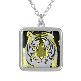 Black Grey Yellow Pop Art Tiger Square Pendant Necklace