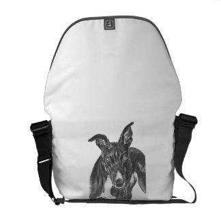 Black Greyhound Art Courier Bag