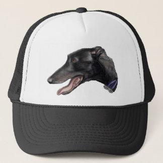 """""""Black Greyhound"""" Dog Art Hat"""