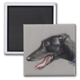 Black Greyhound Original Dog Art Magnet
