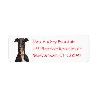 Black Greyhound Puppy Dog Red Return Address Label