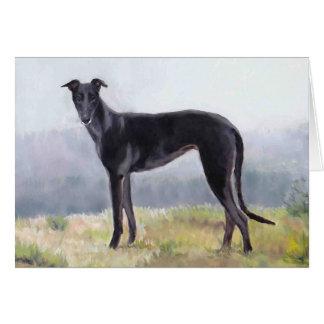 Black Greyhound Standing Dog  Art Greeting Card
