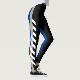 Black, Grey'n'Blue Stripe Leggings