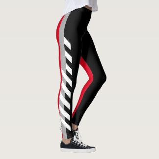 Black, Grey'n'Red Stripe Leggings