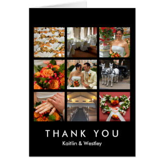 Black grid collage 9 photos memories thank you card