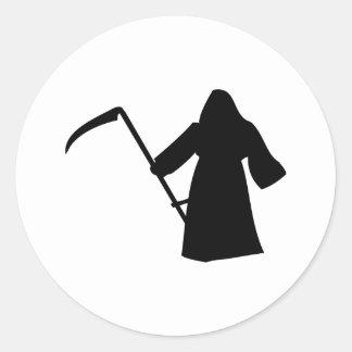 black grim reaper death icon classic round sticker