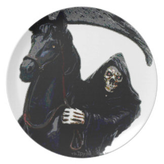 Black Grim Reaper Horseman by Valpyra Melamine Plate