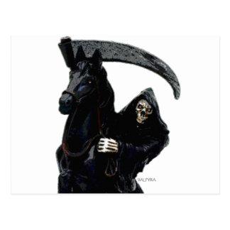 Black Grim Reaper Horseman by Valpyra Postcard