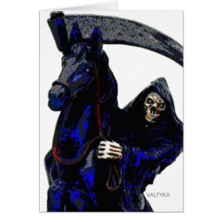 Black Grim Reaper Horseman w Neon by Valpyra Card