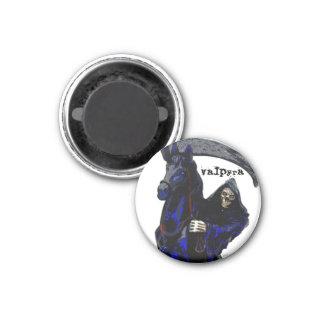 Black Grim Reaper Horseman w Neon by Valpyra 1 Inch Round Magnet