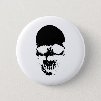 Black Grim Reaper Skull Pinback Button