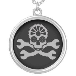 Black Gruesome Death Silver Plated Necklace