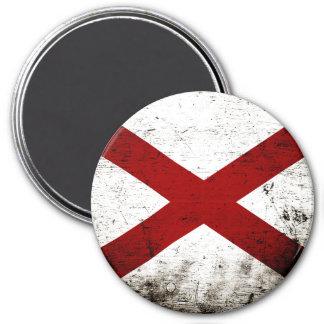 Black Grunge Alabama State Flag 3 Inch Round Magnet