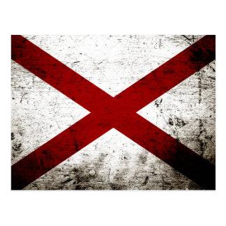 Black Grunge Alabama State Flag Postcard