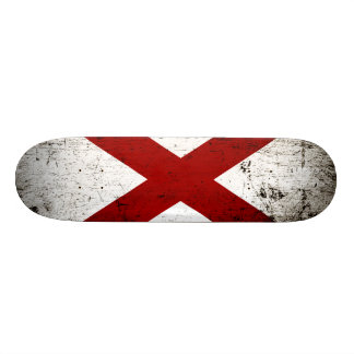 Black Grunge Alabama State Flag Skateboard Deck