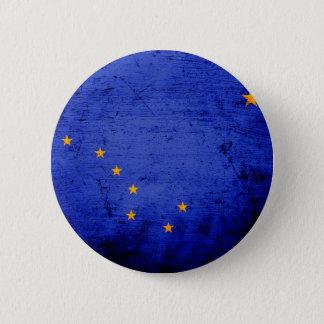 Black Grunge Alaska State Flag Pinback Button