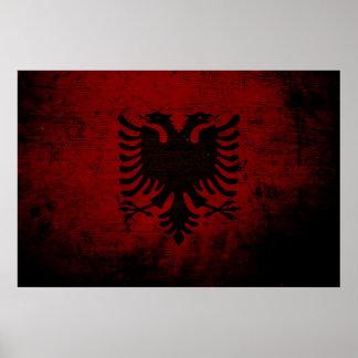 Black Grunge Albania Flag Poster