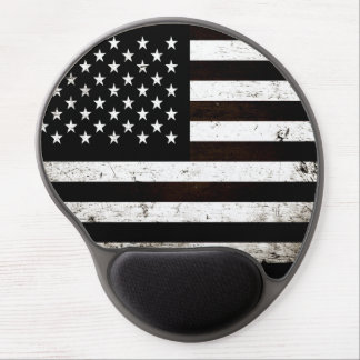 Black Grunge American Flag 2 Gel Mouse Pad