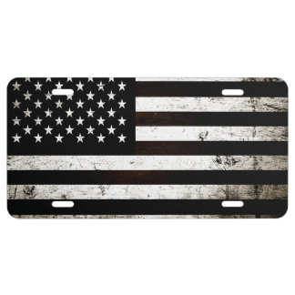 Black Grunge American Flag 2 License Plate