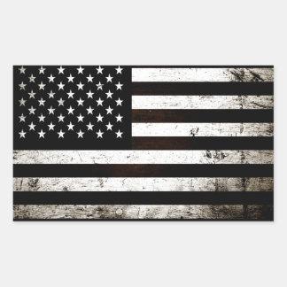 Black Grunge American Flag 2 Rectangular Sticker